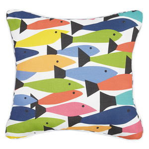 Fish School Print Pillow