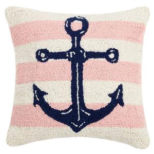 Pink Stripe Anchor Hook Pillow