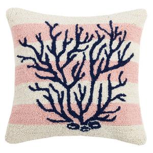 Pink Stripe Coral Hook Pillow
