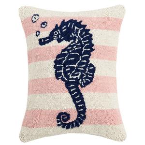 Pink Stripe Seahorse Hook Pillow