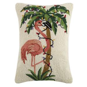 Flamingo Palm Lights Hook Pillow