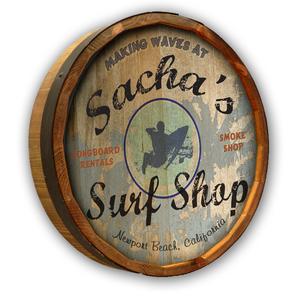 Surf Shop Quarter Barrel Wall Sign Personalized