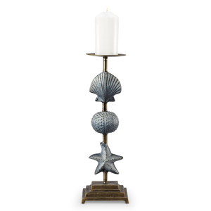 Shell & Starfish Pillar Candleholders  Set of 2