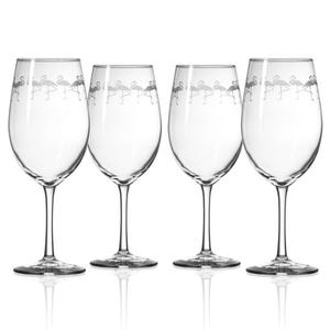 Flock of Flamingo All Purpose Wine Glasses Set of 4