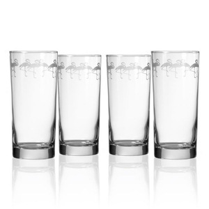 Flock of Flamingo Cooler Highball Glasses (set of 4)