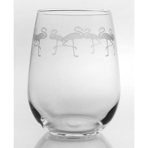 Flock of Flamingo Stemless Wine Glasses Set of 4