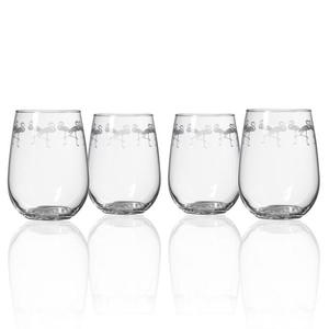 Flock of Flamingo Stemless Wine Glasses Set of 4