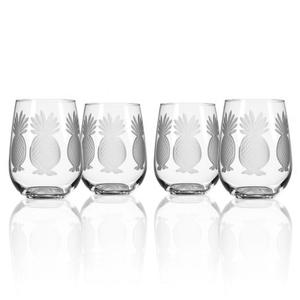 Pineapple Stemless Wine Glass Set of 4