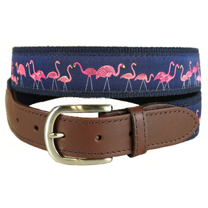Yard Flamingos Leather Tab Belt