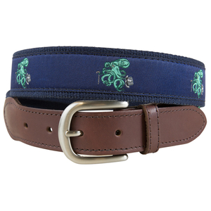 Octopus in Top Hat Leather Tab Belt