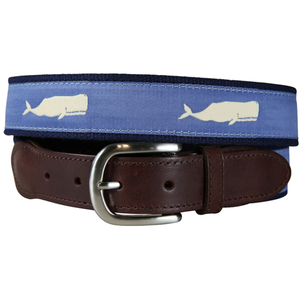 Moby Whale (Blue) Leather Tab Belt