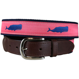 Moby Whale (Coral) Leather Tab Belt