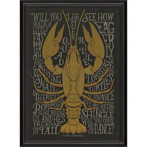 The Lobster Quadrille -On Black- Framed Art