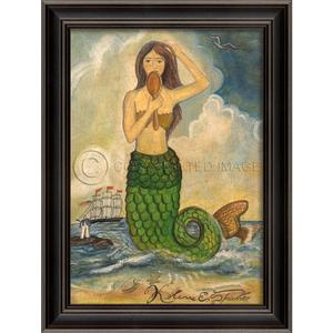 Mermaid Looking in Mirror Green Tail Framed Art