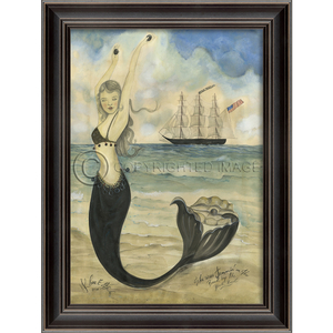 Black Pearl Oyster Lounge Mermaid Framed Art