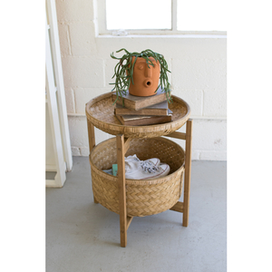 Set of 2 Bamboo Baskets with Wooden Stand