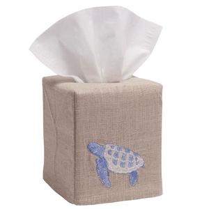 Sea Turtle Tissue Box Natural Linen Cover