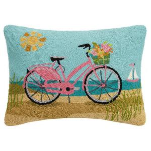 """BEACH PINK BIKE Pillow 16X22"""""""