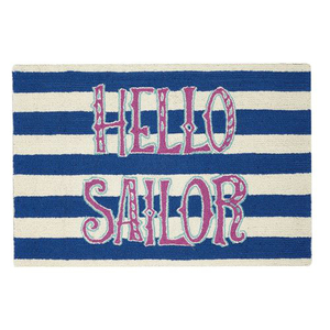 Hello Sailor Hook Rug  2X3 FT