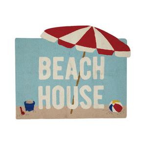 """Beach House Shaped Hook Rug 33X40"""""""