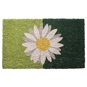 One Daisy on Green Coir Doormat with Backing