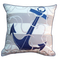 Grey Stripe with Navy Anchor Pillow - Outdoor Sunbrella®