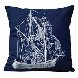 Vintage Ship Pillow - Outdoor Sunbrella®