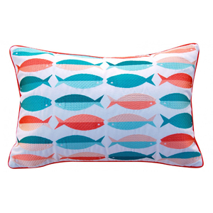 Modern Fish Pattern Pillow - Outdoor Sunbrella®
