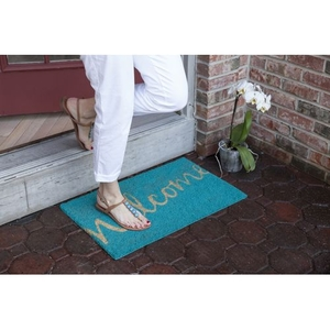 Cursive Welcome Coir Doormat with Backing