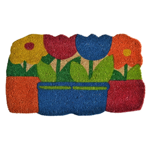 Flowers Pots Vinyl Back Door Mat