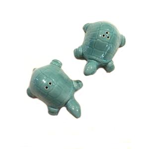 Sea Turtle Sea Salt & Pepper Shaker Set, Light Turquoise