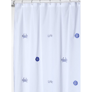Sealife Blue Embroidered Shower Curtain