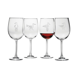 Busy Seagulls Etched Stemmed Wine Glass Set