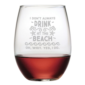 Drink at the Beach Stemless 21 oz Wine Glasses (Set of 4)