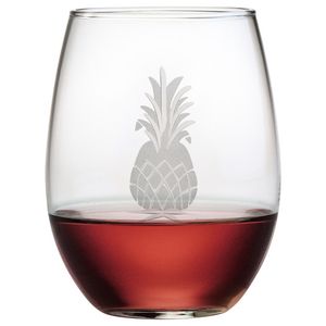 Pineapple Hand-Cut Stemless 21oz Wine Glasses (Set of 4)