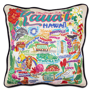 Kauai Hand-Embroidered Pillow