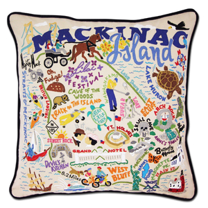 Mackinac Island Hand-Embroidered Pillow