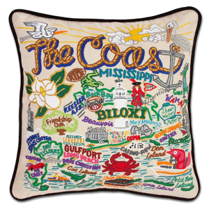 Mississippi Coast Hand-Embroidered Pillow
