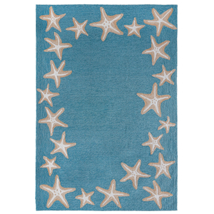Starfish Border Indoor/Outdoor Rug Aqua 5 X7'