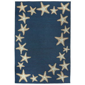 "Starfish Border Indoor/Outdoor Rug Denim 7'6""x 9'6"""