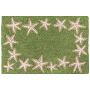 "Starfish Border Indoor/Outdoor Rug Green  24"" X 36"""