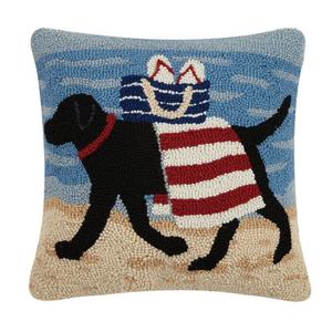 Beach Dog Hook Pillow 16x16