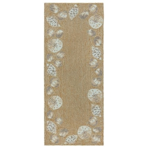 "Liora Manne Capri Seashell Border Indoor/Outdoor Rug Natural 24""X60"""
