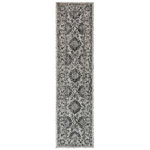 """Liora Manne Carmel Vintage Floral Indoor/Outdoor Rug Black 23""""X7'6"""""""