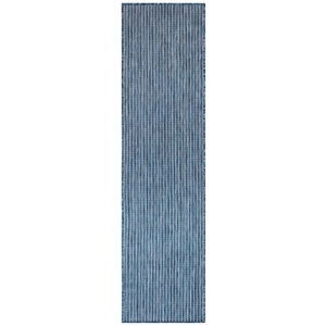 "Liora Manne Carmel Texture Stripe Indoor/Outdoor Rug Navy 23""X7'6"""