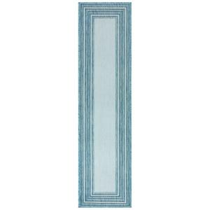 """Liora Manne Carmel Multi Border Indoor/Outdoor Rug Aqua 23""""X7'6"""""""
