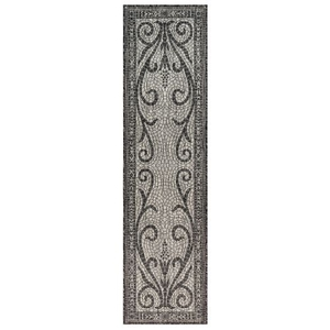 "Liora Manne Carmel Mosaic Indoor/Outdoor Rug Black 23""X7'6"""