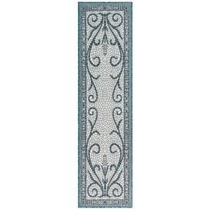 "Liora Manne Carmel Mosaic Indoor/Outdoor Rug Teal 23""X7'6"""