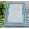 """Liora Manne Carmel Multi Border Indoor/Outdoor Rug Aqua 39""""X59"""""""