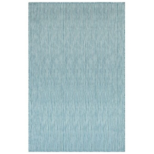 """Liora Manne Carmel Texture Stripe Indoor/Outdoor Rug Aqua 4'10""""X7'6"""""""